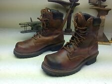 DISTRESSED STEEL TOE CHIPPEWA BROWN LEATHER LACE UP ENGINEER LOGGER BOOT 11.5 M