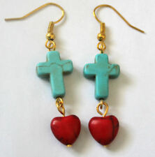 red heart and blue cross - turquoise bead EARRINGS