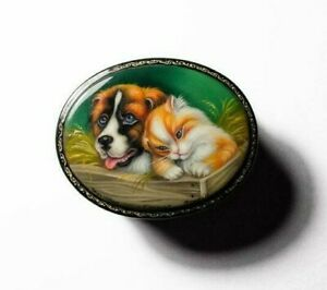 Russian Lacquer box style Fedoskino.Friends.Hand Painted.