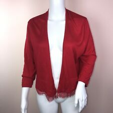 Tommy Hilfiger Large Cardigan Sweater NEW Red Lace Open Front