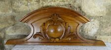 "31"" French Antique Pediment -Crest In Solid Walnut Wood Salvage"