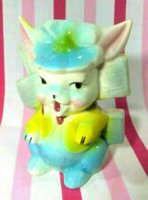Charming Vintage 1950's Figural Bunny in Hat Pastel Ceramic Planter • So Sweet!