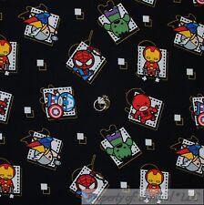 BonEful Fabric FQ Cotton Quilt Super Hero Avengers Comic Boy USA Cartoon Block S