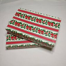 Vintage Christmas 2 Gift Wrapping Boxes Printed Cardboard Red White Green Holly