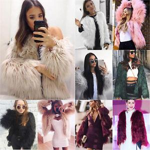 Women Shaggy Fluffy Faux Fur Coat Winter Cardigan Casual Jacket Overcoat Outwear