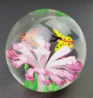 Hand Blown Dynasty Gallery Art Glass Paperweight Pink Flower with Butterflies