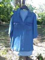 Women's Beija Flor XL Blue Denim Tunic Collared Blouse 100% Lyocell