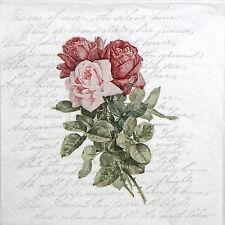 4x Paper Napkins for Decoupage Sagen Vintage Roses Love Poem
