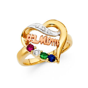 14k Yellow Tri Tone Real Gold Mother Day #1 Mom Heart Gem Stone Fancy Ring Band