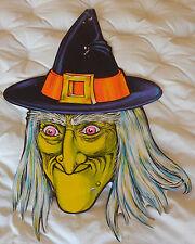 """Vtg Lg Beistle Die Cut Green Head Halloween Witch Cardboard Decoration 26""""x16.5"""""""