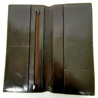 Mens Leather Travel Wallet Passport Card Holder Document Organizer Dark Brown