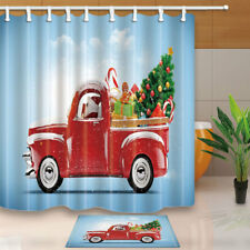 Red Truck With Christmas Tree Shower Curtain Bathroom Fabric & Bath Mat 71*71in