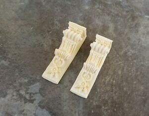 Dollhouse Miniature x2 Corbel Brackets Large Resin 1:12 Scale Ivory Finish A1395