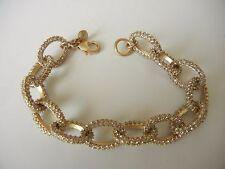 """J Crew Bracelet Gold Tone Pave Crystal Oval Links 8"""" B389"""