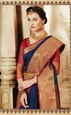 Weaves navy blue Silk Saree Ethnic Saree with unstiched Blouse