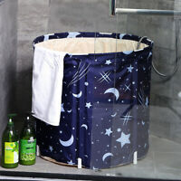 Star Blue Folding Bathtub Portable Water Tub Intdoor Bathroom Adult Spa Gift