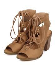 New Women Soda Race Suede Peep Toe Gilly Tie Block Heel Corset Sandal Size