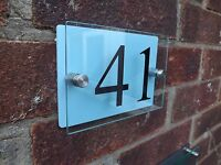 MODERN HOUSE SIGN PLAQUE DOOR NUMBER STREET GLASS EFFECT ACRYLIC BABY BLUE