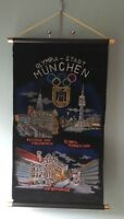 Vintage Olympic City Munich pennant wall banner velour glitter design 1972 Olymp