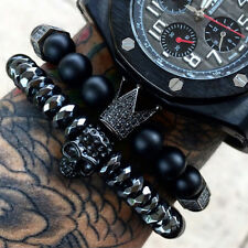 King of The Skulls Unique Titanium Skull And Onyx Natural Stone Crown Bracelets
