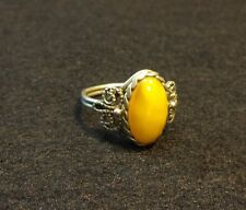 Natural Old Antique Butterscotch Egg Yolk Baltic Amber Ring.