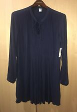 Old Navy Women Shift Dress Navy Blue Long Sleeve Flowy Knee Length Sz M Tie Neck
