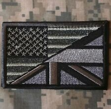 LONDON BRISTISH USA AMERICAN FLAG ARMY MORALE TACTICAL ACU HOOK PATCH