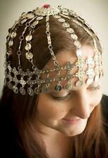 ETHNIC Tribal Gypsy Belly Dancer Plated Metal SILVER COIN ACCENT HEAD PIECE New