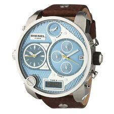 DIEZEL DZ7322 MR DADDY Oversized Brown Leather Strap Blue Chronograph Men Watch