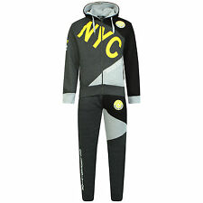 Boys Luxuary Fleece Zip up NYC Full TrackSuit Jogging Bottom Hoodie Age 7 to 13