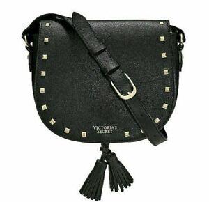 Victorias Secret Crossbody Gold Studded Purse Bag Black Faux Leather