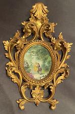 Antica Cornice In Legno Intagliato Dorata Con Miniatura Dipinta 23x17cm
