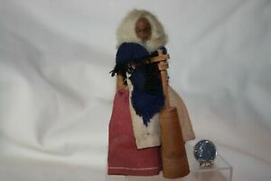 Miniature Dollhouse Vintage Handcarved Old Lady Doll w Butter Churn & Chair 1:12
