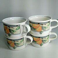 Mikasa Intaglio Garden Harvest Tea Cups Mugs Lot of 4