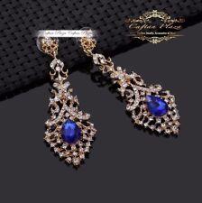 Brautschmuck Hochzeit Ohrringe Grosse Ohrhänger XXXL Gold Royal Blau Chandelier
