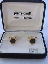 Pierre Cardin Cufflinks, Hexagon Shape, Gold-Tone w/ Onyx Stones, NOS, Style 1