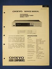 ONKYO T-4017 TUNER SERVICE MANUAL ORIGINAL FACTORY ISSUE THE REAL THING
