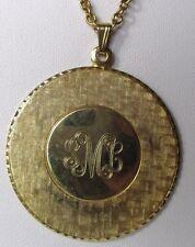 collier pendentif bijou couleur or ancien médaillon gravé monogramme S M L  165