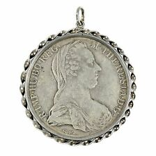 1780 Austria 1 Taler Maria Theresia of Habsburg Silver Coin in Sterling Pendant
