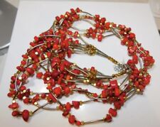"Vintage Real Red Coral Beads Silver Brass Chunky  28""  Necklace in 6 Tier 161.5g"