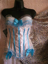 steampunk-Ivory white&blue sexy/wedding/fancy dress corset UK size XL
