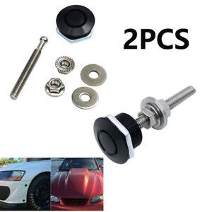 2X Push Button Quick Release Hood Bonnet Pins Lock Clip Car Bumper Latch Kit
