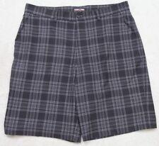 "Kirkland Dress Shorts Black Gray Polyester Spandex Flat Front 36"" x 10"" Large"