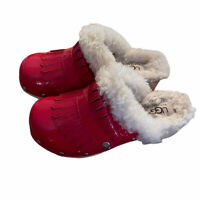 Ugg Clogs Size 13 Red Patent Leather Fringe Shearling Girls Wooden Shoes