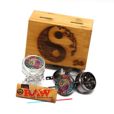 Yin Yang Stash Box All In one Combo Set Grinder Glass Jar Wood Kit Herb Tobacco