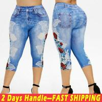 Plus Size Women Floral Capri Pants Skinny Stretch Casual Summer Cropped Leggings