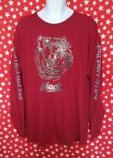 Mack Bulldog Wine Red Graphic Lined Bulldog Face Long Sleeve Spell out Men's XL