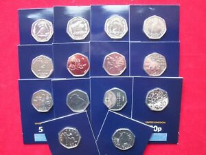 UK Rare Commemorative 50p Coins Brilliant Uncirculated Coin Packs BUNC