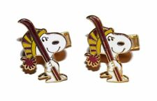 Vintage Snoopy Dog Ski Skiing Enamel Gold Tone Cuff Links United Features 1960s