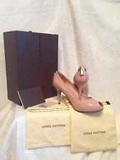 NIB Louis Vuitton Pink Patent Leather Gold LOCK IT Logo Shoes 38, 8
